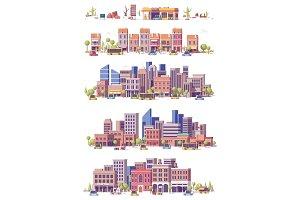 Vector low poly 2d city scenes