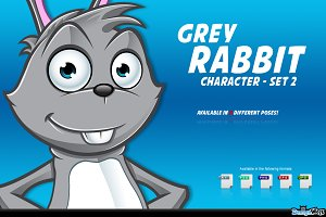 Grey Rabbit Character - Set 2