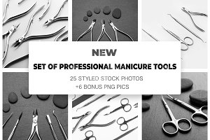 Set of professional manicure tools