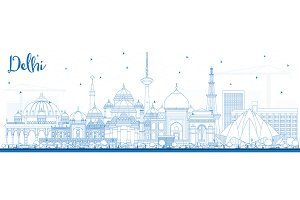 Outline Delhi India City Skyline