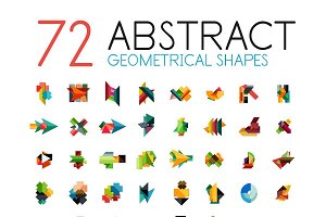 72 abstract geometrical shapes