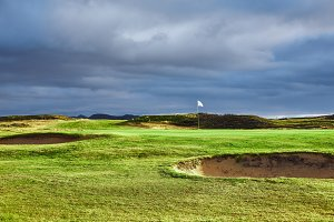 landscape view of golf course In Iceland