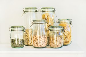 Various raw cereals, grains, beans and pasta for healthy cooking