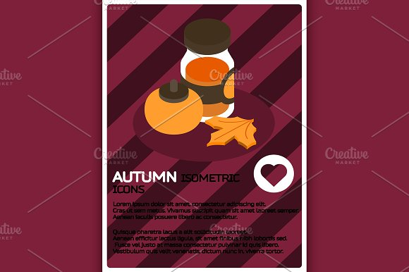 Autumn color isometric poster