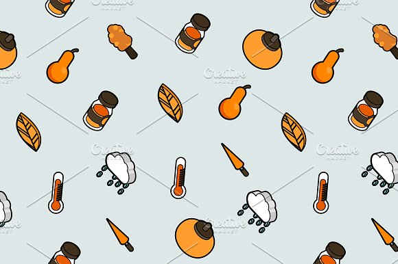 Autumn outline isometric pattern