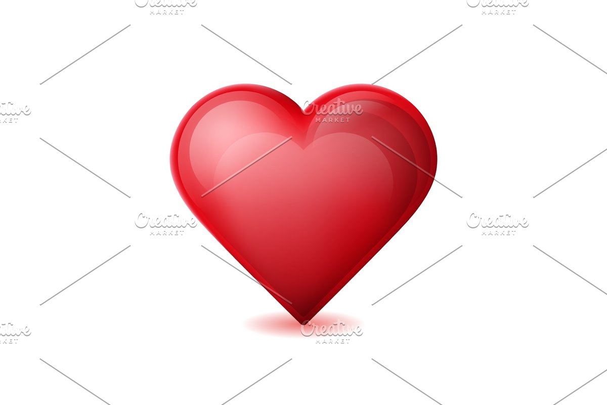 Red heart isolated on white background.