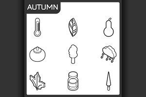 Autumn isometric icons