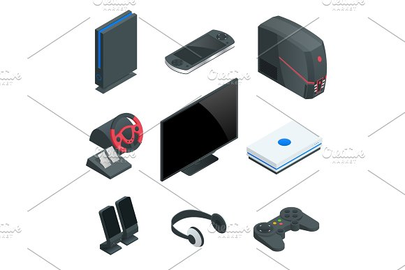 Isometric Video Game console icon set. Simple set of game console vector icons for web design isolated on white background