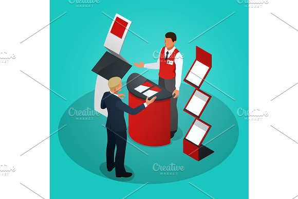 Isometric promotional stands or exhibition stands including display desks shelves and people with products and handout