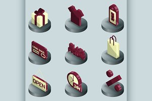 Black friday color isometric icons