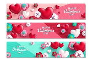 Valentine horizontal banners, hearts and flowers