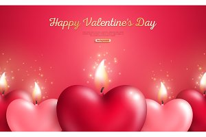 Valentine concept with heart candles