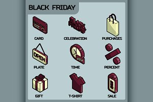 Black friday color outline isometric