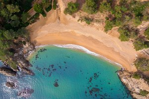 Aerial views of the beach and the wa