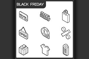 Black friday isometric icons