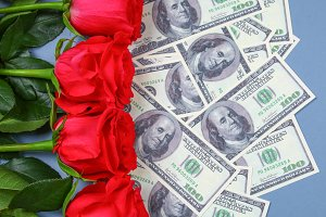 Pink roses with dollar bills instead of a gift. Template for March 8, Mother's Day, Valentine's Day.
