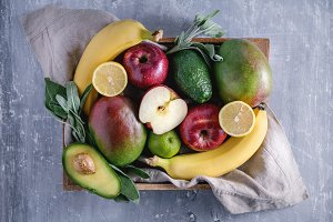 Fresh fruits in the wooden box