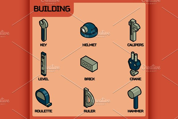 Building color outline isometric