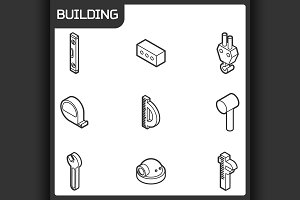 Building outline isometric icons