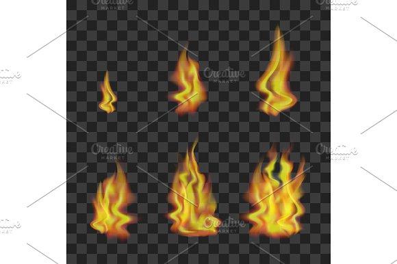 Fire Set on Transparent Background.