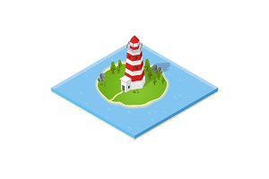Nautical Lighthouse Isometric View.