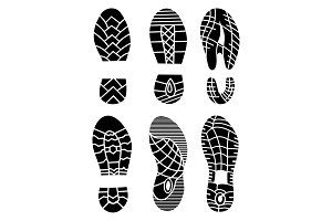 Footprint icons isolated on white background. Vector art. Collection of a imprint soles shoes. Footprint sport shoes big vector illustration set