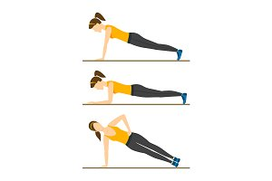 Woman Making Right Plank Position.