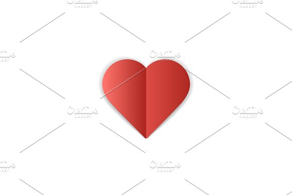 Paper heart on white background. Love romantic symbol of love. February 14 Valentines day greating card template.