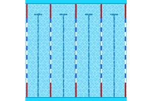 Swimming Pool Top View. Vector