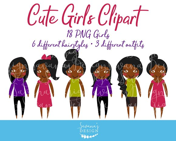 African American Girls Clipart PNG