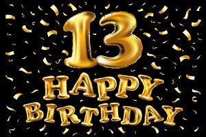 vector happy birthday 13 years gold
