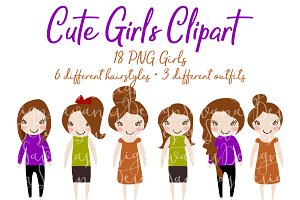Brunette Hair Girls Clipart in PNG