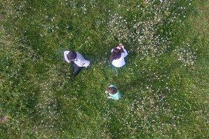 Kids picking flowers