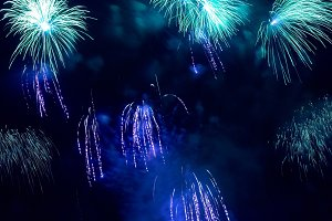 Colorful blue holiday fireworks