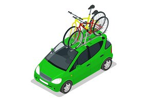 Isometric Mini car with two bicycles mounted on the roof rack. Flat style vector illustration isolated on white background.