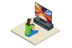 Isometric young woman plays video game on TV using Gamepad. Driving car in video game. Gaming addiction concept. Flat style vector illustration