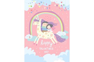 Couple in love riding on unicorn