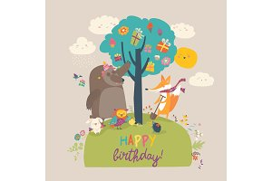 Cartoon animals celebrating Birthday in the forest