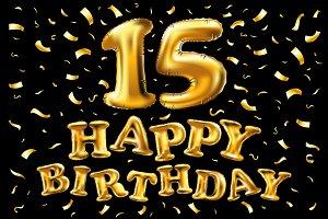 vector 15th Birthday gold balloon
