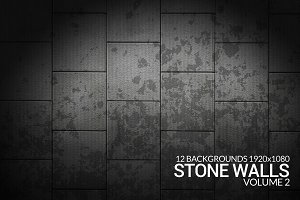 12 Stone Walls Grunge Backgrounds