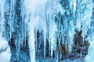 Frozen ice waterfall