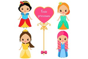 Cute princesses in kawaii style