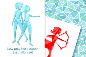 Low poly horoscope illustration set