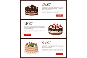 Cakes Variety Page Online Shop Vector Illustration