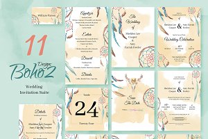 Boho2. Wedding Invitation Package