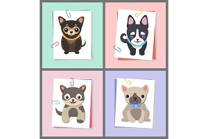 Dogs with Good Mood Collection Vector Illustration