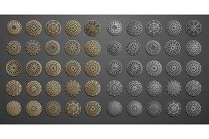 Islamic ornament vector , persian motiff . 3d ramadan islamic round pattern elements . Geometric logo template set. Circular ornamental arabic symbols .