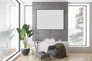 Interior mockup - black wall mock up