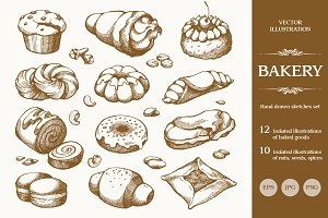 Hand drawn bakery set
