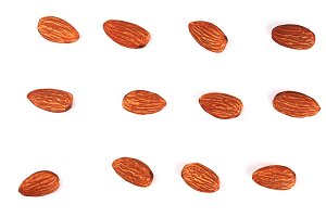 Peeled almond pattern isolated on white background